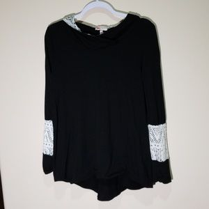 Black Thin Flowy Hoodie with White Lace